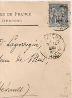 Daguin SOLO BEZIERS Hérault  Bloc Dateur Mixte 30 Mai 1890 Sur Enveloppe Union Des Femmes De France Au Type SAGE. - 1877-1920: Période Semi Moderne
