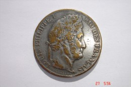 Fausse Pièce De 5F Louis Philippe En Bronze Argenté De 1846 A état TB - Pds 20,5 Grs. - France