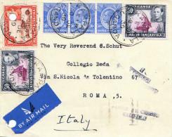 UGANDA KENYA TANGANYIKA 1939 - 6 Fach Frankierung Auf Brief-Stück Gel.n.Roma, Briefstück Gelocht. - Kenya, Uganda & Tanganyika