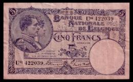 Belgium 5 Francs 1923 VF - 5 Francs