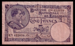 Belgium 5 Francs 1923 VF - [ 2] 1831-... : Regno Del Belgio