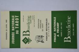 Jeu de Tarot 78 cartes + Livret de la finale nationale de la FFT � F�camp en 1982 - Publicit� B�n�dictine