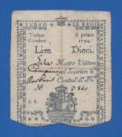 Italy 10 Lire Regie Finanze Di Torino Regno Di Sardegna 1794 - R5 - Pick S124 - BB/VF - [ 1] …-1946 : Royaume