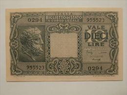 """10 Lire Biglietto Di Stato """"volto Di Giove"""" D.M. 23-11-1944 Conservazione Come Da Foto - [ 1] …-1946 : Kingdom"""