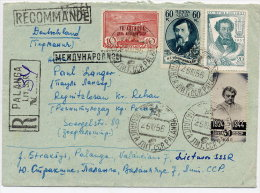 LITHUANIA (SOVIET UNION) 1956 Registered Cover From Palanga With Various Commemoratives, - Lithuania