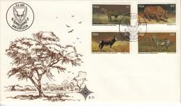 South Africa FDC Scott #465-#468 Set Of 4 Wildlife Protection: Leopard, Rhinoceros, Blesbok, Zebra - FDC
