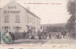 Mery Sur Marne Route De Saacy Café Restaurant Circulée Timbrée 1907 - Autres Communes