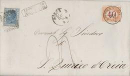 B033 - 27/12/1872 - Lettera Da Siena A S.Quirico D'Orcia Con Cent. 20 Azzurro , Tassata Cent 40  . Leggi ... - 1878-00 Umberto I