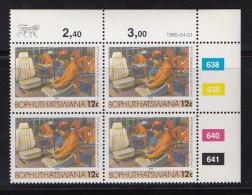 BOPHUTHATSWANA, 1985, MNH Controls Block Of 4, Definitive 12 Cent, M 139 - Bophuthatswana