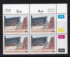 BOPHUTHATSWANA, 1987, MNH Controls Block Of 4, Definitive 16 Cent, M 185 - Bophuthatswana