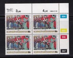 BOPHUTHATSWANA, 1989, MNH Controls Block Of 4, Definitive 18 Cent, M 222 - Bophuthatswana