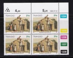 TRANSKEI, 1990, MNH Controls Block Of 4, Xhosa Culture 21 Cent,  M 258 - Transkei