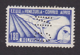 Venezuela, Scott #, Mint Hinged, Airmail Stamp Punched GN For Use As Officials, Issued 1937 - Venezuela