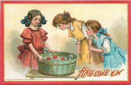 201567-Halloween, Tuck No 174-2, Frances Brundage, Three Girls Bobbing For Apples In A Barrel Of Water - Halloween