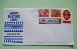 Zambia 1970 FDC Cover To England - Crafts - Axe - Mask - Pipe - Dance Boat - Antelope - Zambie (1965-...)