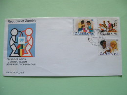 Zambia 1977 FDC Cover - United Nation Combat Racism - Children With Toy - Family - Bird - Zambie (1965-...)