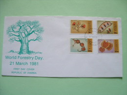 Zambia 1981 FDC Cover - Trees Seed Pods - World Forestry Day - Zambie (1965-...)