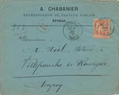 Recommandé Sur Enveloppe Epinal à Villefranche De Rouergue 15 Jul 84 TB. - 1876-1898 Sage (Type II)