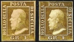 IMPRESSIONE DOPPIO: Fernando II GR 1 di 1859: Michel-No.2b marrone-oliva  (*) senza gomma