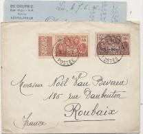 LETTRE   POUR ROUBAIX . ETAT MAJOR F P - Congo Belge