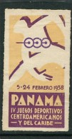 """1938 Panama IV Juegos Deportivos Centroamerica Nos Y Del Caribe Poster Stamp Vignette Label No Gum 1 1/4 X 2 1/4"""" - Cinderellas"""