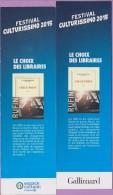 Marque-page  °°  Festival Culturissimo 2015 - Gallimard  :-.  JC Rufin ° Check - Point.  6 X 20 - Lesezeichen