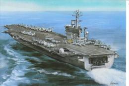 USS Nimitz  -  Aircraft Carrier -  Dessin De Gustav Hybner  -  CPM - Guerre