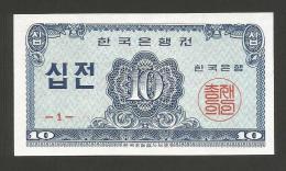 SOUTH - KOREA - BANK Of KOREA - 10 JEON (1962) - Corea Del Sud