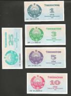 UZBEKISTAN - NATIONAL BANK - 1 / 3 / 5 / 10 / 25  SUM (1992) - LOT Of 5 DIFFERENT BANKNOTES - Uzbekistan