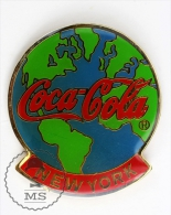 New York Earth Globe - Coca Cola Advertising Pin Badge #PLS - Coca-Cola