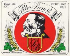 Etiquette Bière Belge. . Brasserie LEROY.  Boezinge.  Peter Benoit.   Neuve - Bière