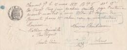 Lettre Change Manuscrite 25/3/1895 Filigrane Papier Timbré 1893  Clermont Ferrand Puy De Dôme à Paulhaguet Haute Loire - Bills Of Exchange