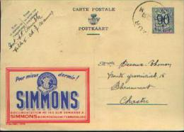 PUBLIBEL N° 1079 « SIMMONS » A Circulé (1952) - Interi Postali
