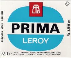 Etiquette Bière Belge. . Brasserie LEROY.  Boezinge.  Prima Leroy.   Neuve - Bière