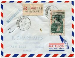MAURITANIE LETTRE RECOMMANDEE PAR AVION DEPART NOUAKCHOTT 16-12-1966 POUR LA FRANCE - Mauritanie (1960-...)