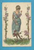 CPA 74-2 - Art Déco Art Nouveau Femme Fleurs Roses épines Illustrateur Italien - Illustrators & Photographers