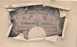 REPRESENTATION D'UN BILLET DE CINQUANTE FRANCS CARTE PRECURSEUR - Monnaies (représentations)