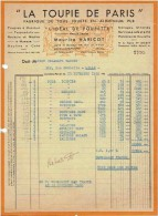 """Facture:  PARIS.  MAURICE HARICOT.  LA TOUPIE DE PARIS.  Jouets """"L´Idéal De Poupette"""".  1950. - Documents Historiques"""