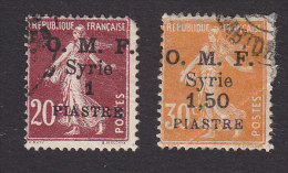 French Syr, Scott #36, 38, Used, French Stamp Surcharged, Issued 1921-22 - Syria (1919-1945)