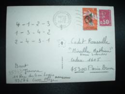 CP BOTTA TP MARIANNE DE BEQUET 0,50+ VIGNETTE CONTRE LA TUBERCULOSE 1972 1973 OBL.MEC.1-12-1972 COUDEKERQUE BRANCHE (59) - Unclassified