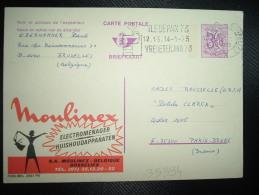 CP PUBLIBEL 2551 FN ENTIER POUR LA FRANCE 3F50 OBL.MEC.12 I 1973 BRUXELLES + MOULINEX ELECTROMENAGER - Stamped Stationery
