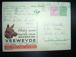 CP PUBLIBEL 2480 F ENTIER POUR LA FRANCE 2F50 + TP 1F OBL.MEC.26 I 1973 BRUXELLES + VEEWEYDE + CHIEN - Enteros Postales