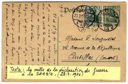ENTIER POSTAL ALLEMAND  -  TEXTE LA VEILLE DE LA DECLARATION DE GUERRE A LA SERBIE  28 7 1914 CACHET COLN - Storia Postale