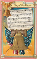 240575-US Patriotic, Nash National Song Series Card No 1, Flag Of The Free, Music And Words, Liberty Bell, Flag - Music And Musicians