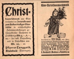 Original Werbung - 1901 - Pfarrer Langguth In Steinheid Und E. Reinhard I. Neuhaus A. Rennweg , Christbaumschmuck !!! - Kerstversiering