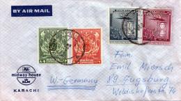 PAKISTAN 1950? - 4 Sondermarken Auf LP-Brief Von Karachi N.Augsburg - Pakistan