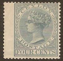 CEYLON 1872 4c Grey QV SG 122 HM #NT128 - Ceylon (...-1947)