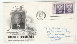 1953 President EISENHOWER INAUGURATION DAY COVER  Franked Pair NATO Stamps Pmk WASHINGTON Usa - NATO
