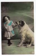 1906--Fillette Avec Jolie Robe En Compagnie D'un Très Beau Gros Chien N°487/3  éd NPG - Enfants