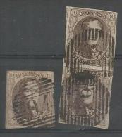 Belgique - Médaillons N°10A(paire+1) Obl. P94 PERUWELZ